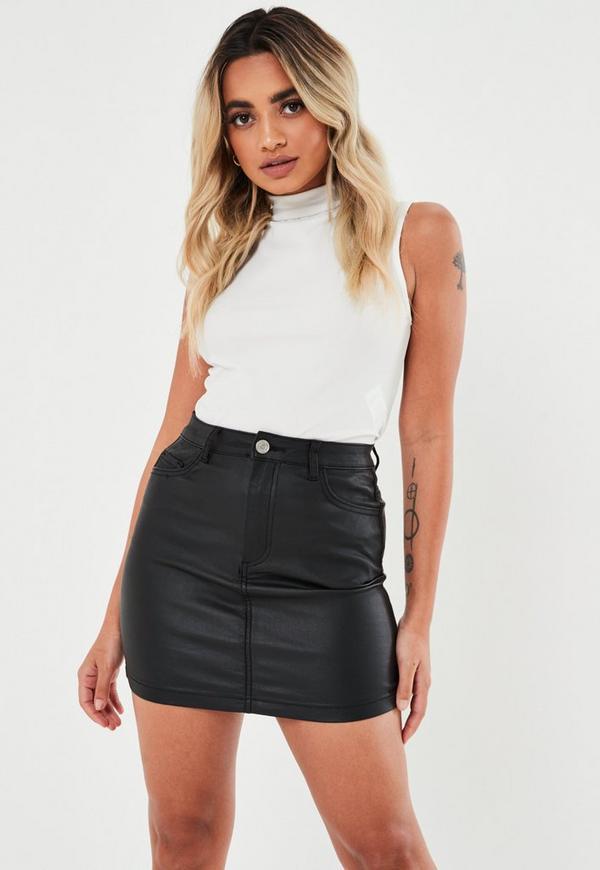 Black Coated Denim Mini Skirt
