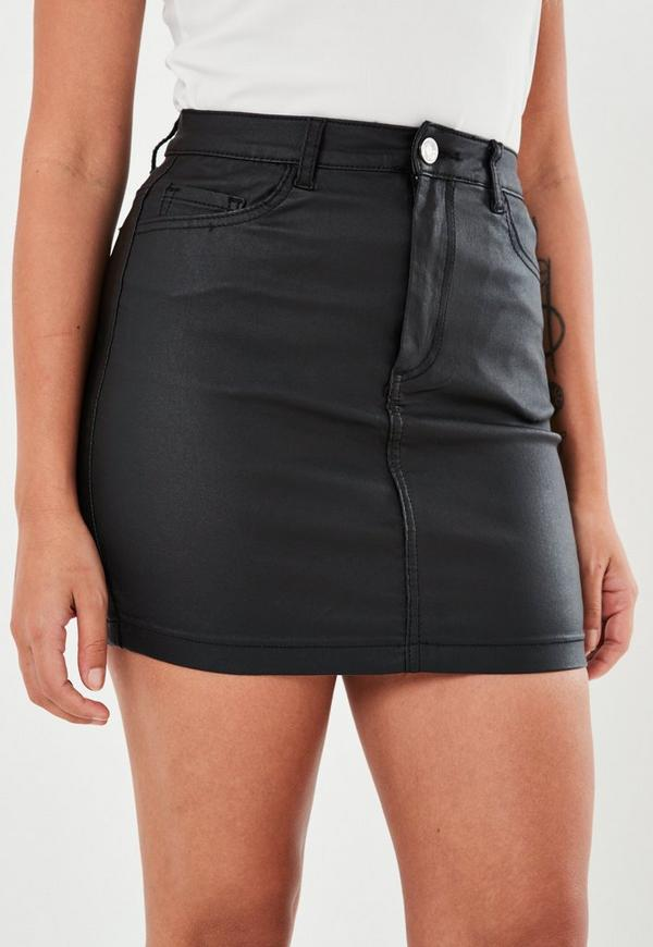 Black Coated Denim Mini Skirt   Missguided