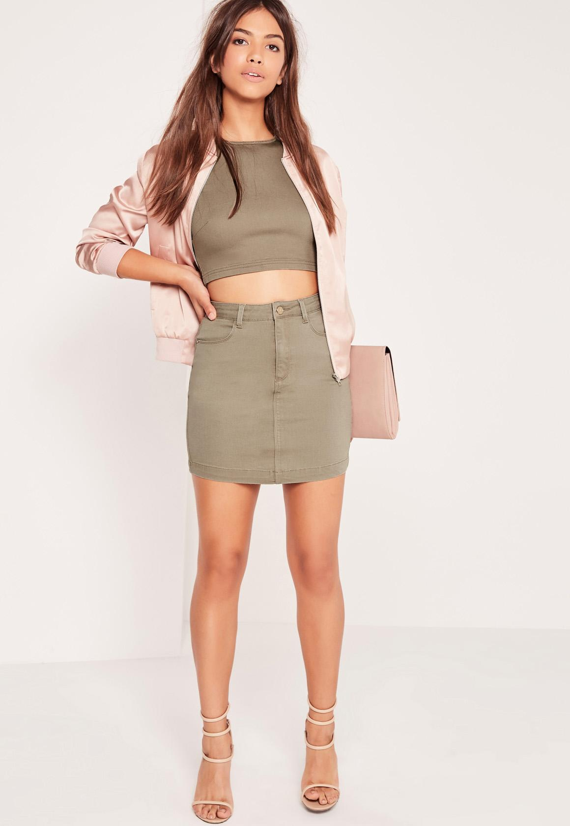 Superstretch Denim Mini Skirt Khaki | Missguided