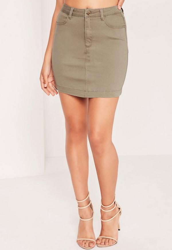 Superstretch Denim Mini Skirt Khaki - Missguided