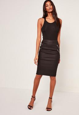 Black High Waist Coated Midi Skirt