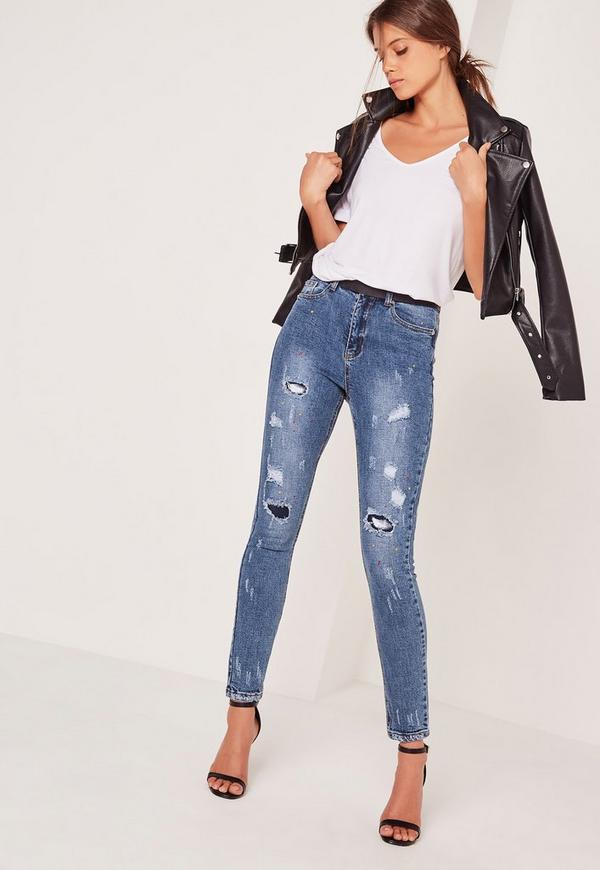 Sinner High Waisted Ripped Paint Splatter Skinny Jeans Blue