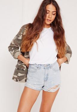 Open Hem High Waisted Shorts Stonewash Blue
