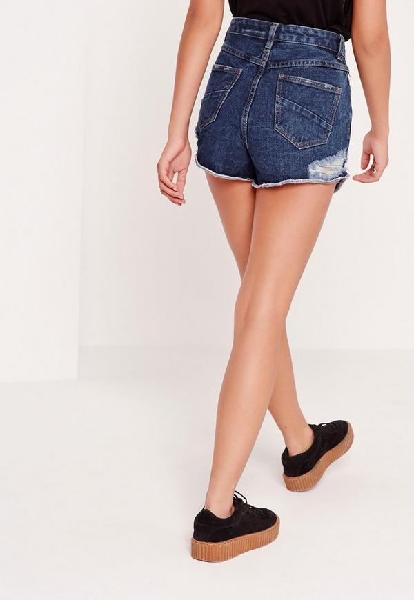 open hem high waisted denim shorts vintage blue missguided