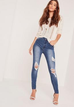 Sinner High Waisted Ripped Skinny Jeans Blue