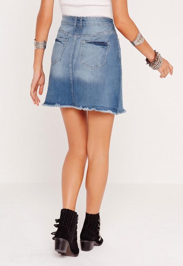 a line button through denim skirt blue missguided