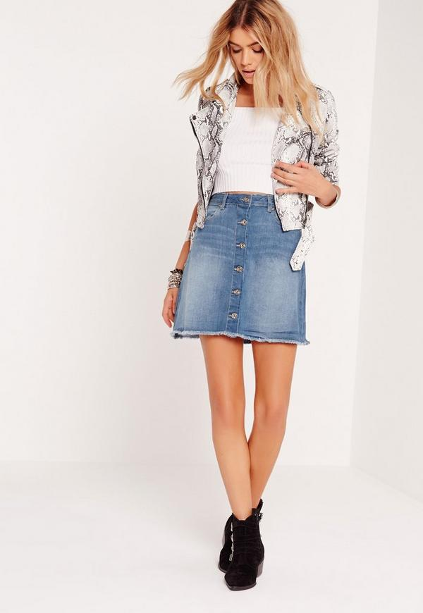 A-Line Button Through Denim Skirt Blue - Missguided