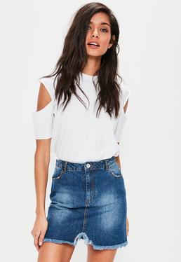 Mini-jupe en jean bleu bords bruts