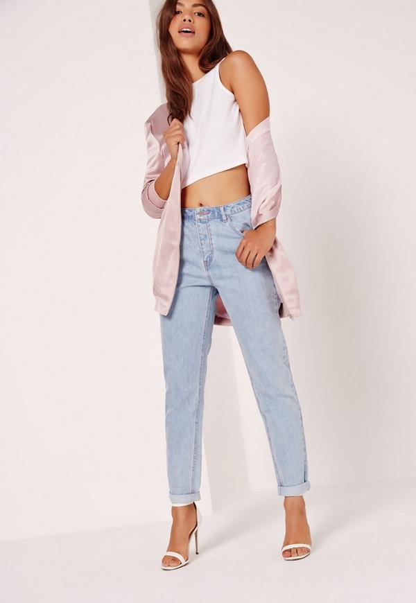 Riot High Rise Mom Jeans Pink Stitch Mid Wash Blue