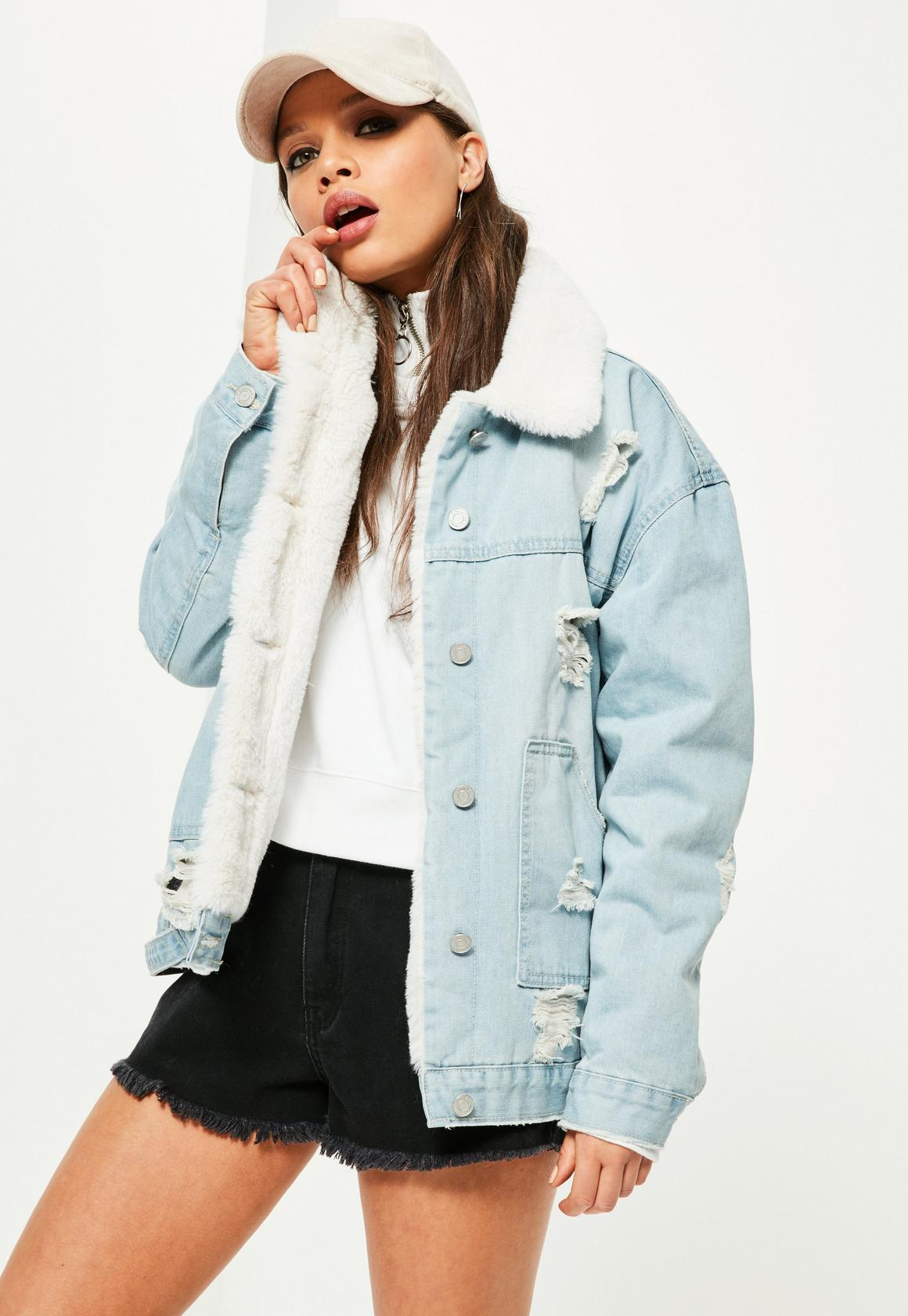 Blue Faux Fur Lined Ripped Denim Jacket | Missguided