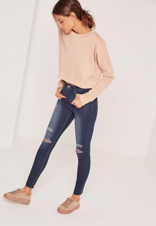 Sinner High Waisted Authentic Ripped Skinny Jeans Blue