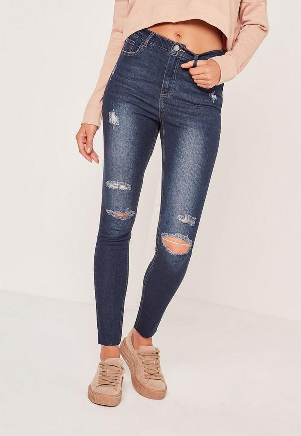 Sinner High Waisted Authentic Ripped Skinny Jeans Blue | Missguided
