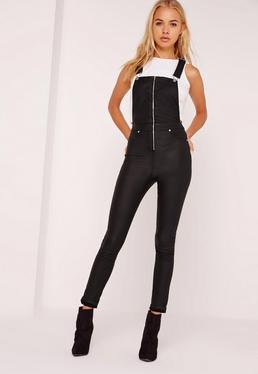 Coated Skinny Dungarees Black