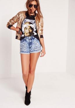 Short en jean taille haute bleu délavé Sinner