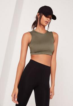 Denim Crop Top Soft Khaki