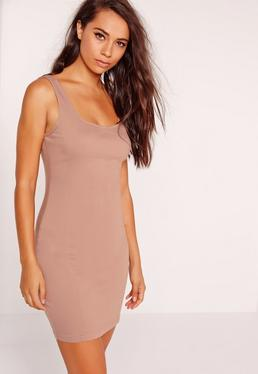 Seam Detail Fitted Denim Dress Nude