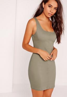 Seam Detail Fitted Denim Dress Soft Khaki
