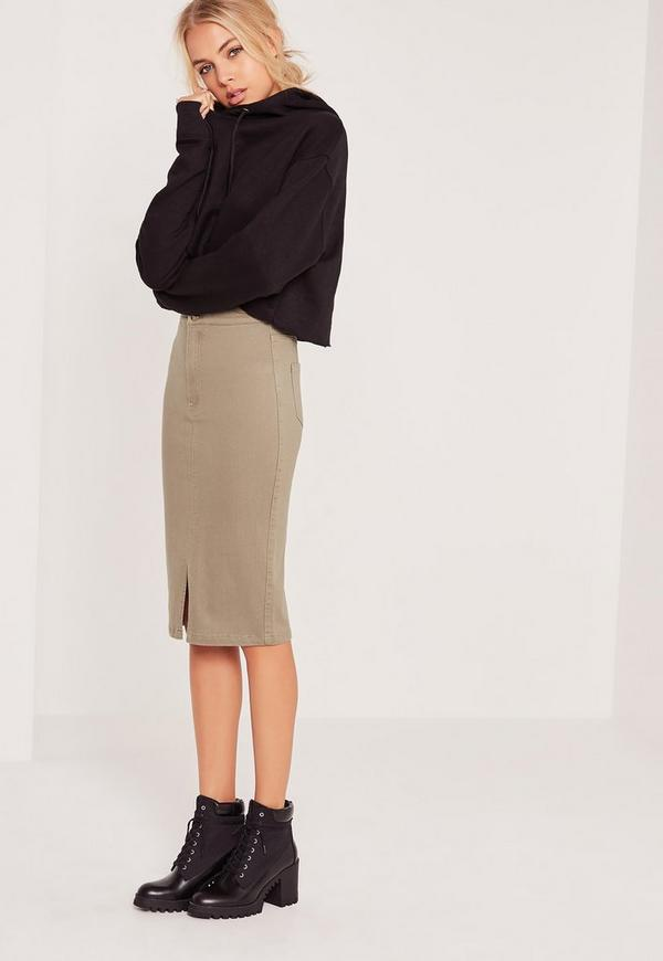 Vice High Waisted Tube Midi Skirt Khaki