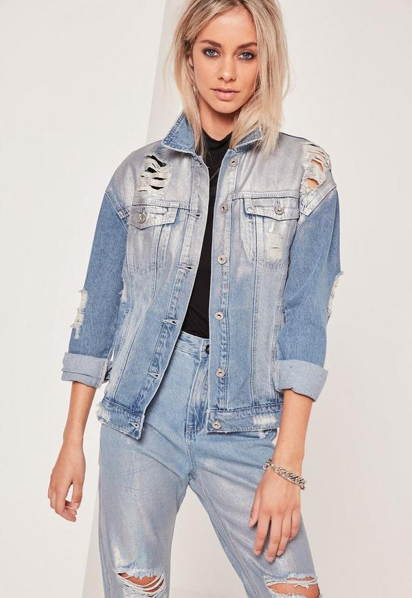 Holographic Ripped Denim Jacket Blue | Missguided