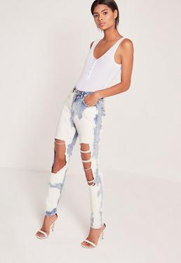 Riot Extreme Bleached Mom Jeans Blue