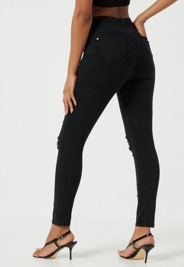 Missguided - High Waisted Authentic Ripped Skinny Jeans - 4