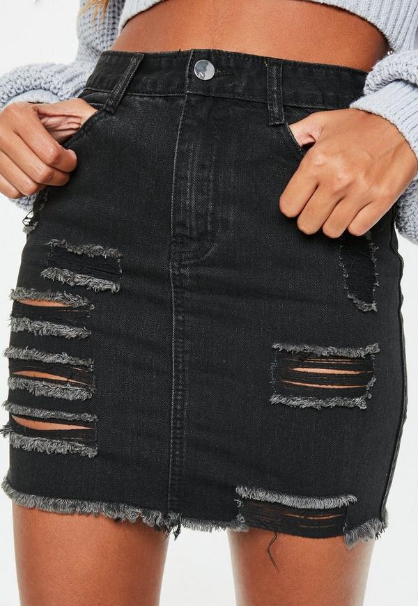 Black Mini Denim Ripped Skirt Missguided
