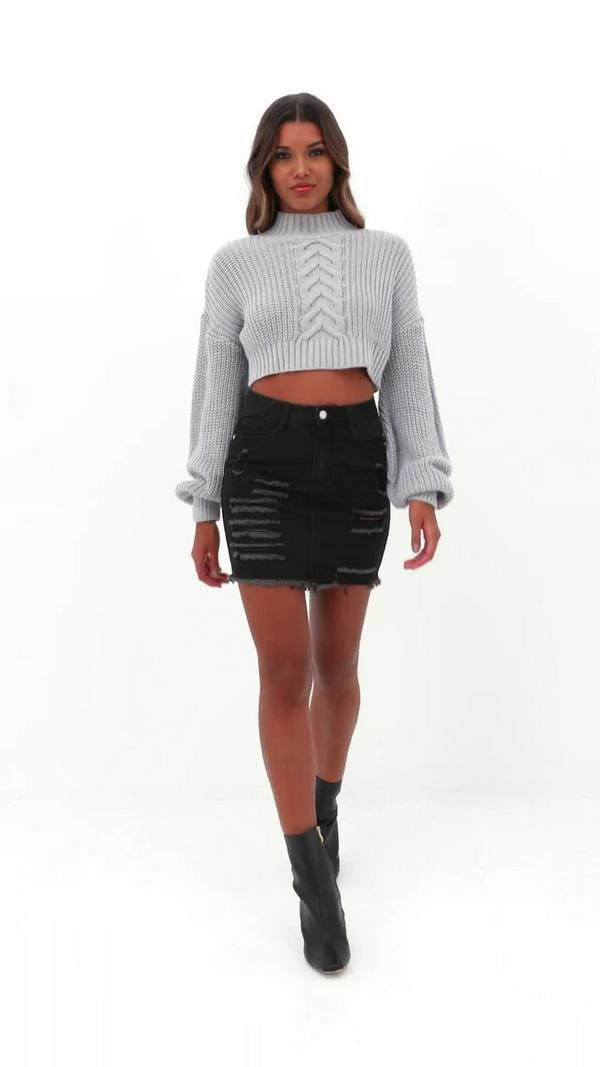Mini Denim Ripped Skirt Black | Missguided