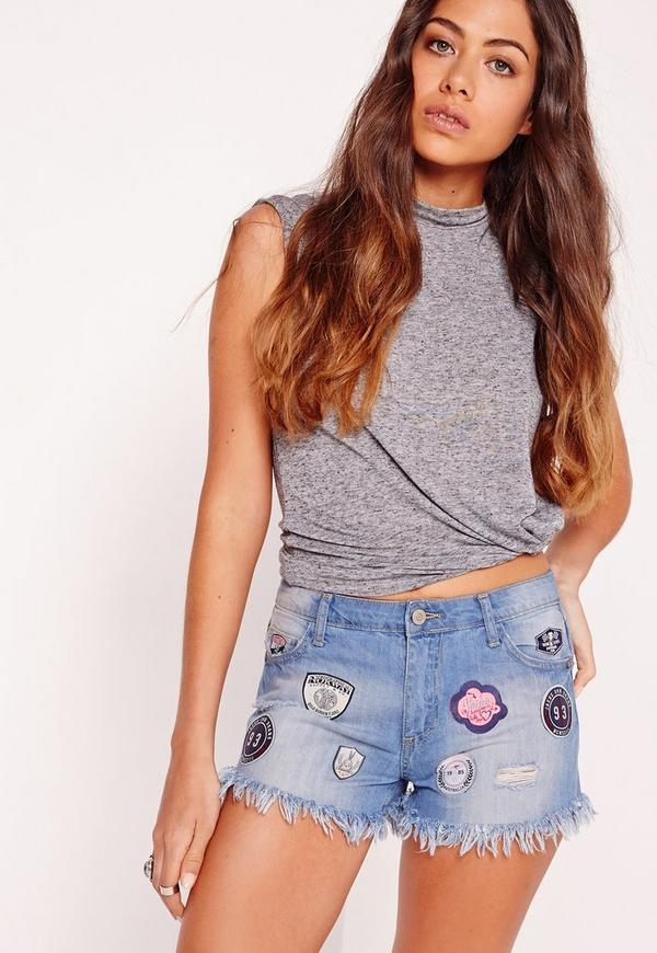 Low Rise Badge Ripped Denim Shorts Mid Blue