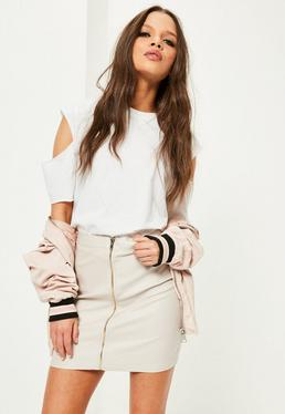 Nude Coated Zip Front Skirt