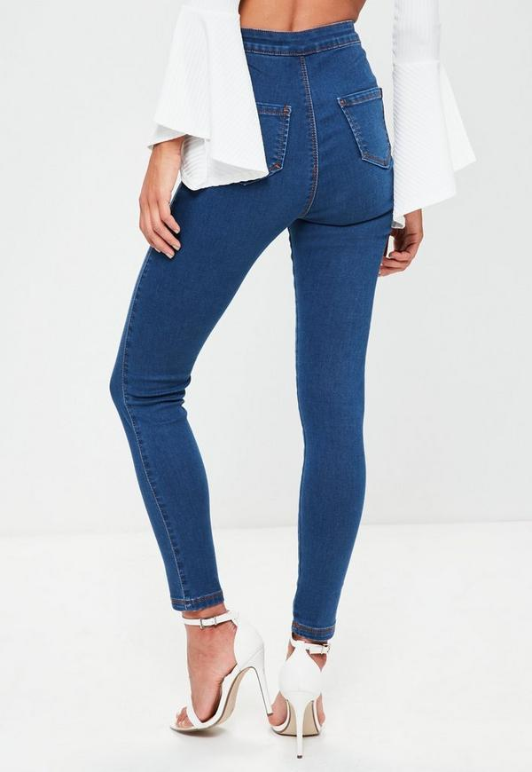 Vice High Waisted Skinny Jeans Blue - Missguided