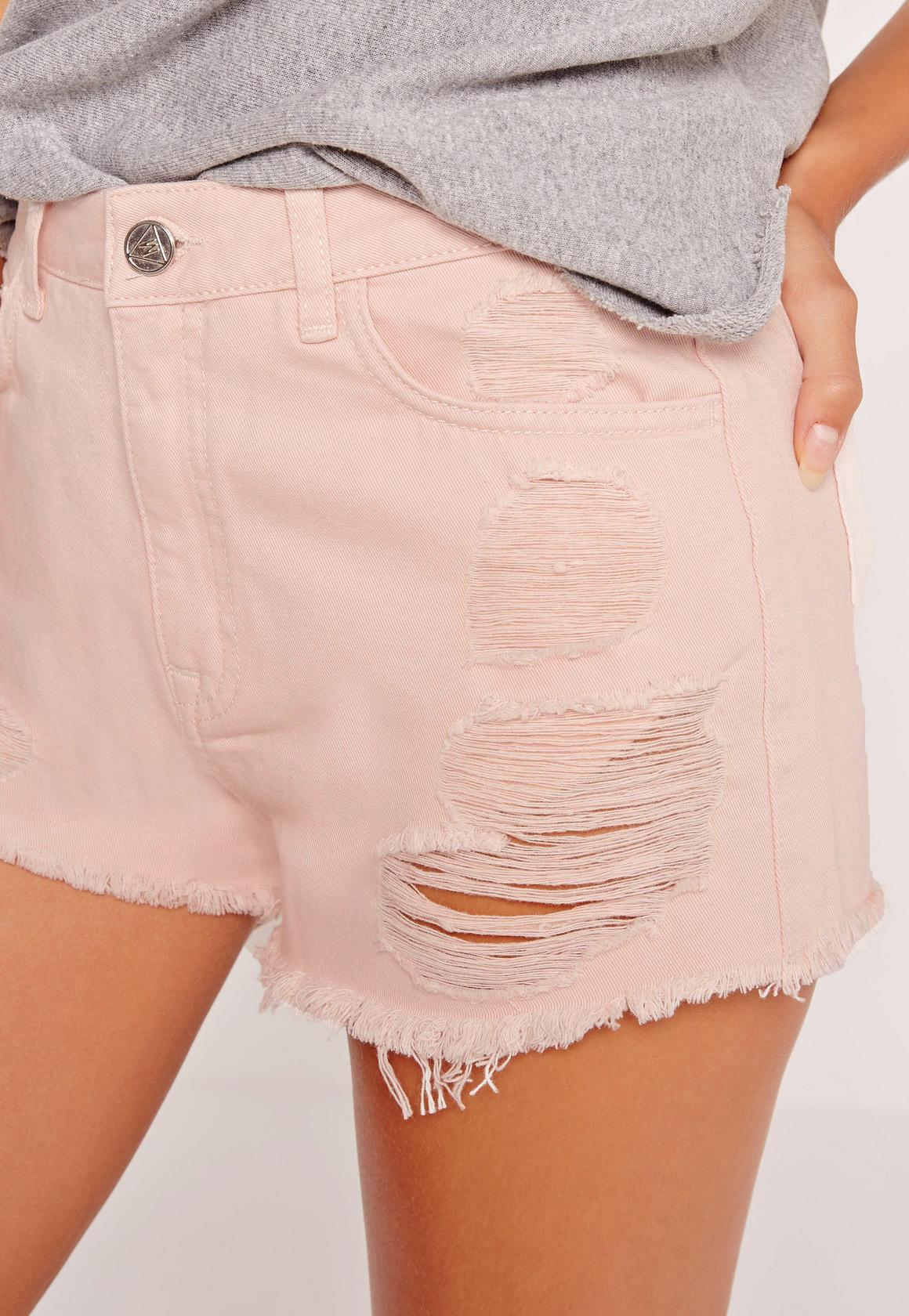 High Waisted Ripped Denim Shorts Pink. Was $43.00. Now $22.00 (50% off).  Previous Next