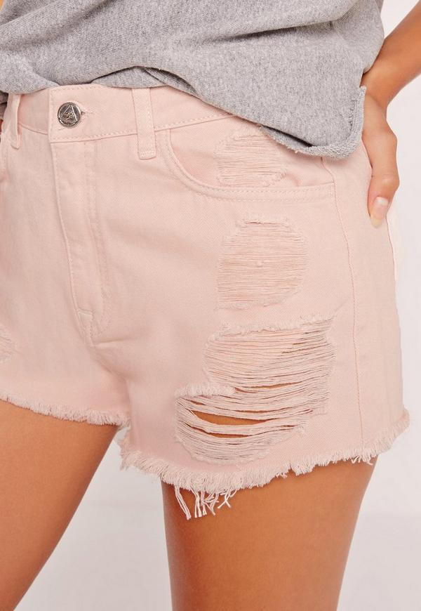High Waisted Ripped Denim Shorts Pink | Missguided