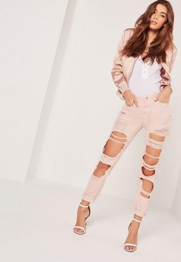 Riot High Rise Extreme Rip Slim Leg Jeans Pink