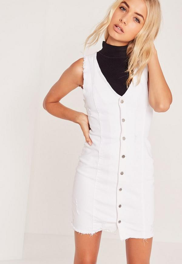 Ripped Button Through Denim Dress White