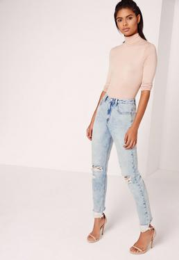 Riot Busted Knee Hem Mom Jeans Blue