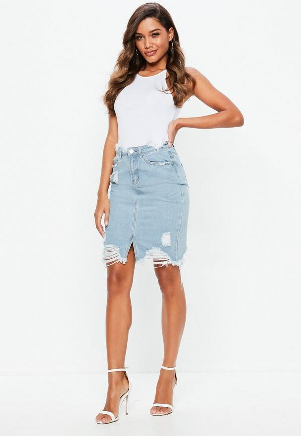 Blue Busted Hem Denim Midi Skirt | Missguided