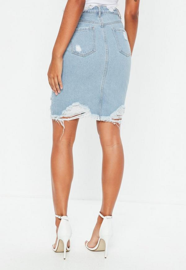 Busted Hem Denim Midi Skirt Blue - Missguided