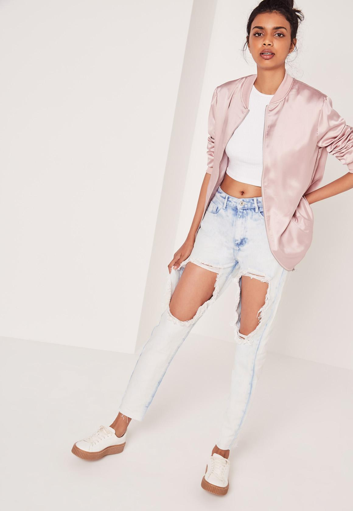 Riot High Rise Open Leg Skinny Jeans Bleached Blue