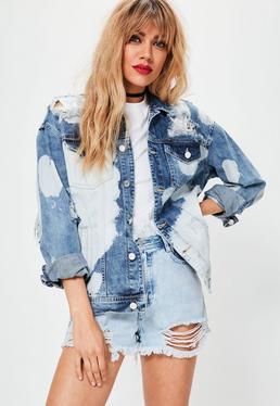 Veste bleue délavée en jean destroy