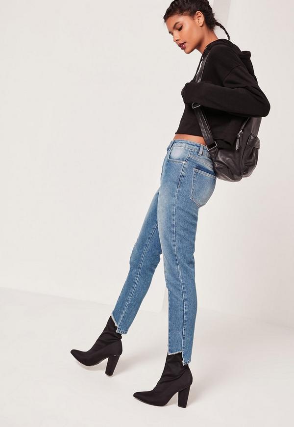 Riot High Rise Seam Front Step Hem Jeans Blue