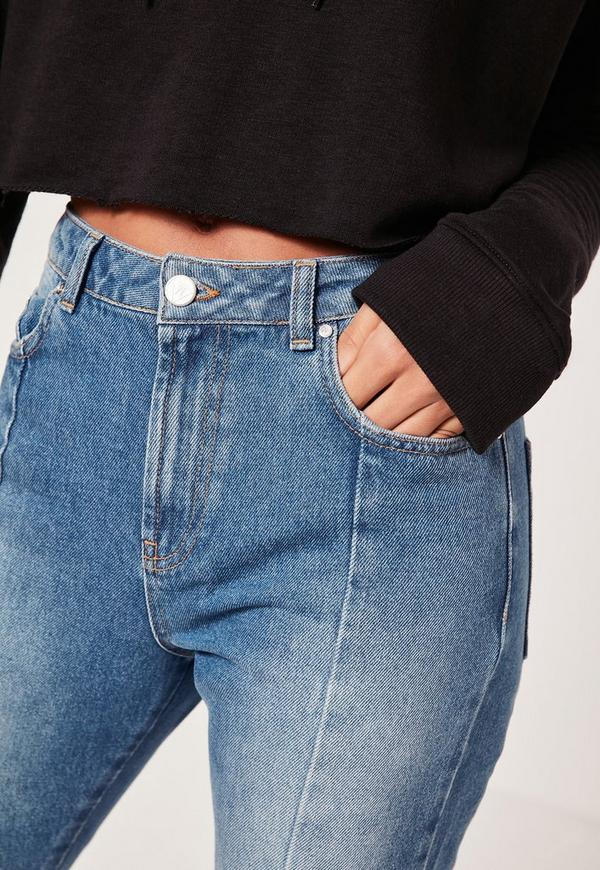 Riot High Rise Seam Front Step Hem Jeans Blue   Missguided