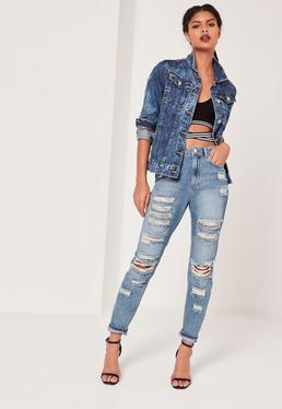 Riot High Rise Chain Ripped Jeans Mid Blue