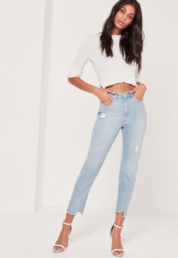 Riot High Rise Twisted Hem Jeans Blue