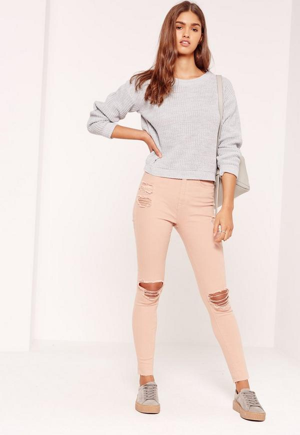 Sinner High Waisted Ripped Knee Skinny Jeans Nude