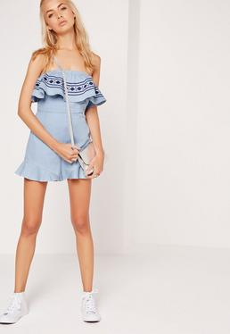 Bardot Embriodered Playsuit Mid Blue
