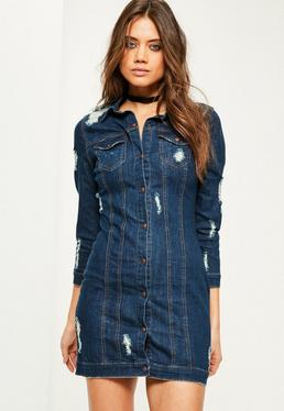 Blue Fitted Ripped Denim Shirt Dress