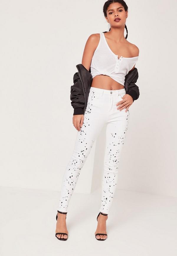Sinner High Waisted Paint Splatter Knee Skinny Jeans White