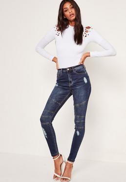 Sinner - Vaqueros pitillo rasgados de cintura alta con diseño biker azules