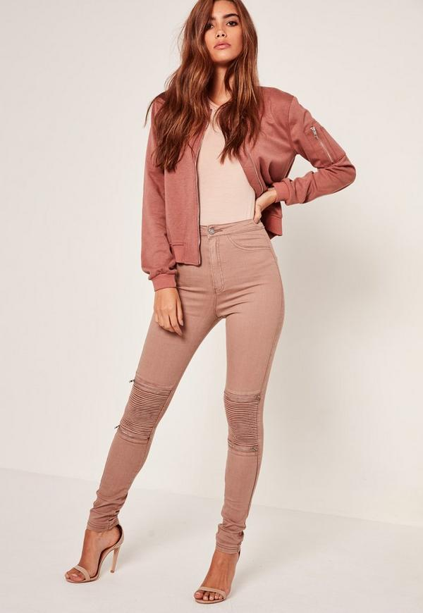 Nude Vice High Waisted Zip Knee Biker Skinny Jean