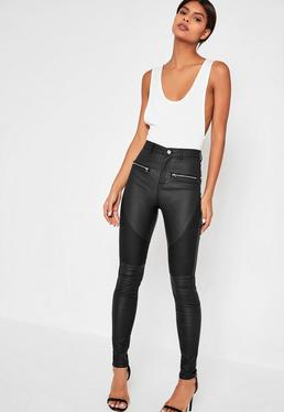 Black Sinner Coated Biker Skinny Jeans